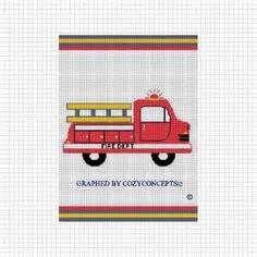 fire truck crochet afghan blanket pattern graph cozyconcepts patterns ...
