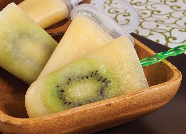Kiwifruit colada ice blocks