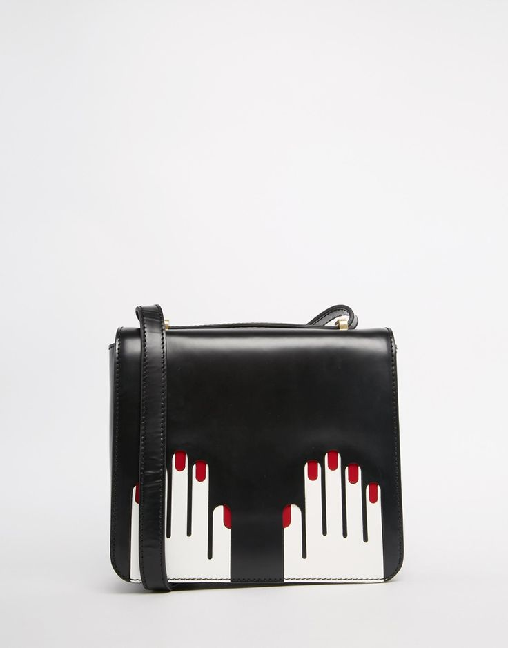 Image 1 of Lulu Guinness Leather Marcie Cross Body With Hands Graphic
