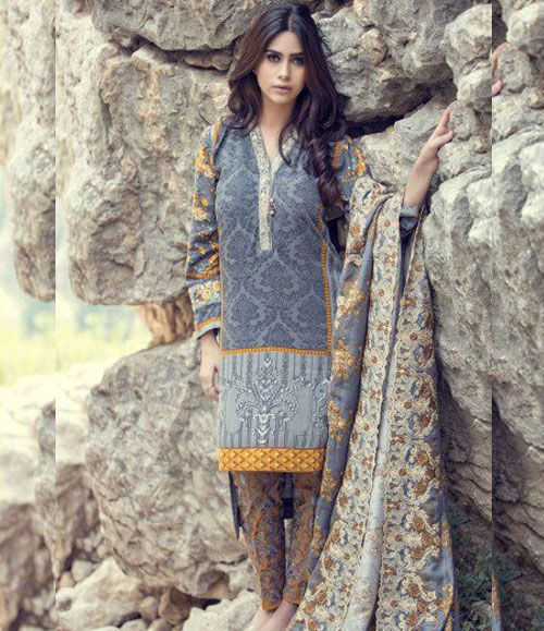 Maria B Embroidered Linen Suits collection GRANDEUR DL-307