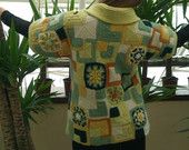 Warm knitted cardigan made in patchwork style