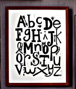 Now they'll know their ABCs. Alphabet Linoleum Block Print Wall art by PerlaAnne via #Etsy, $20.00