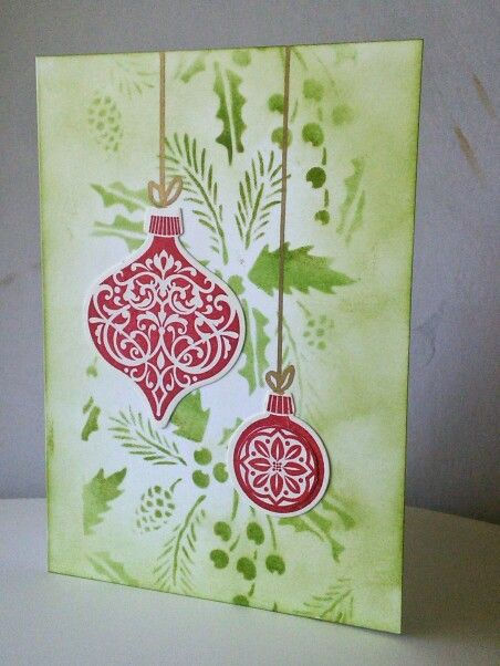 Stampin Up Christmas ornaments & Tim Holtz stencil