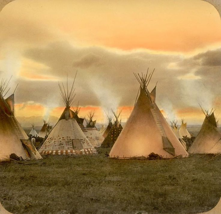 Blackfeet camp in evening. Early 1900s. Montana. Glass lantern slide by Walter McClintock. Source - Yale Collection of Western Americana, Beinecke Rare Book and Manuscript Library.