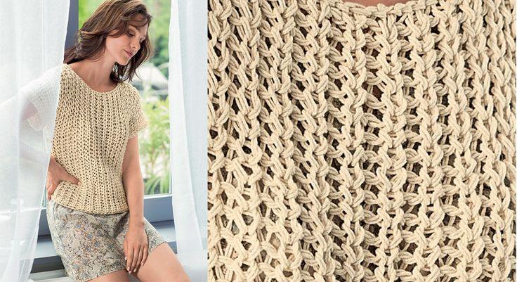 Un petit haut facile à tricoter avec ce fil en coton biologique non teint, utilisé en double. Ajouré, mais pas transparent, il est facile à porter.  Tailles: S (M) L (XL) XXL Le matériel Fil ...