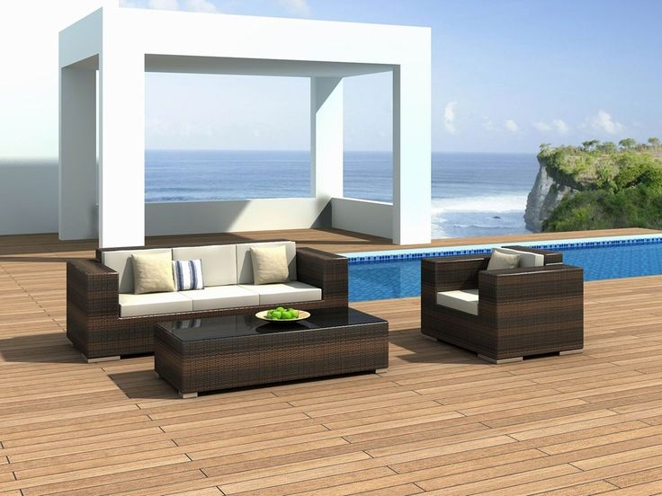 Furniture: Blue Sky Color Large Sea Views Large Wooden Floor Natural Sun Lighting White Wall Color Paint Small Rectangle Swimming Pool Outdoor Living Room Brown Sofa Whiet Cushions Rectangle Table: Superb Outdoor Furniture in Beautiful Place