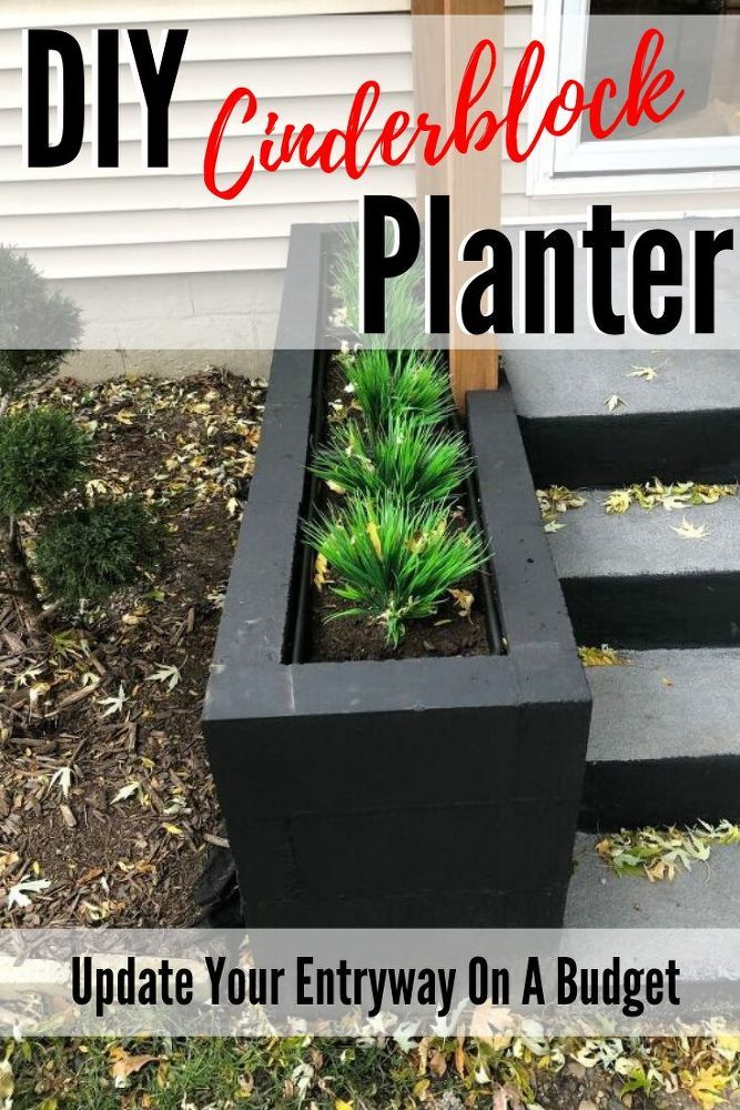 Cinder Block Entryway Planter Diy Cement Planters Large Patio Planters Diy Concrete Planters