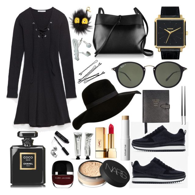 """Untitled #155"" by carolina-clemente on Polyvore featuring Zara, Nixon, Kara, Fendi, Ray-Ban, BOBBY, Smythson, Christofle, NARS Cosmetics and shu uemura"