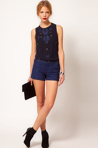 Oasis Shorts In Lace Denim