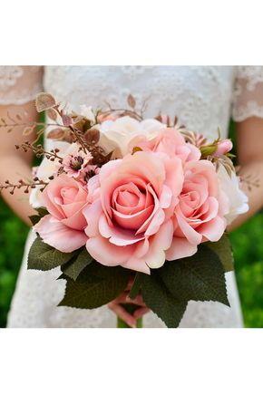 Bouquets de Noiva Lindo Bouquets de casamento Seda Mão-amarrado