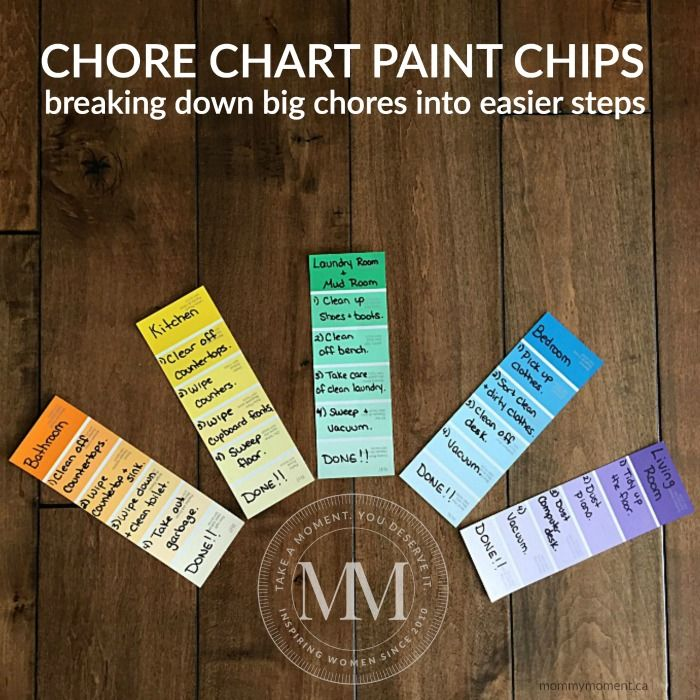 Chores are an important part of childhood and even young children by the age of 2 can help with simple tasks. This PAINT CHIP CHORE CHART is simple