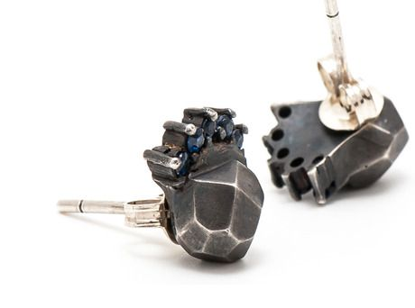Dark Sky Stud earrings by Krista McRae  (Oxidised sterling silver, Australian Blue sapphires)