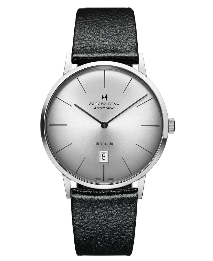 Hamilton Watch, Mens Swiss Automatic Intra-Matic Black Leather Strap 42mm H38755751