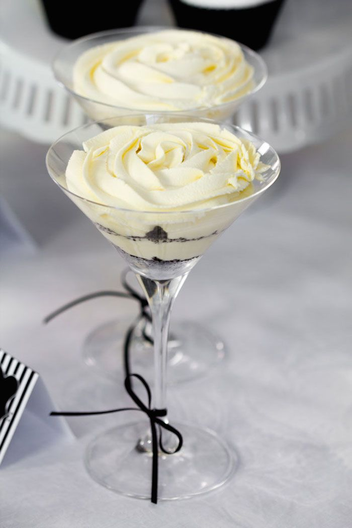 Love these mini Oreo Cheesecake's placed in Martini glasses from this Stylish Black and White 40th Birthday Party with Such Great Ideas via Kara's Party Ideas KarasPartyIdeas.com #adultbirthdayparty #blackandwh...