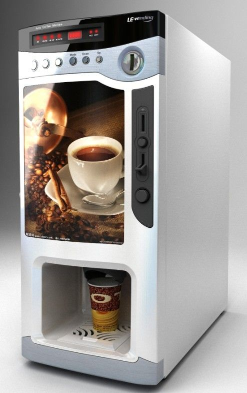 This vending machine is a coin operated machine which automatically dispenses paper cups filled with different types of coffee.
