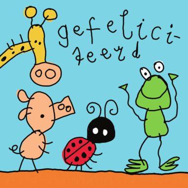 Felicitatiekaart met kinderlijk getekende dieren- Greetz