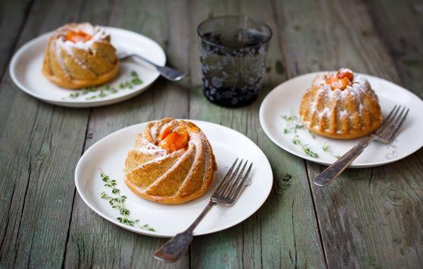 Обои кексы, абрикосовые, выпечка, фрукты картинки на рабочий стол, раздел еда - скачать