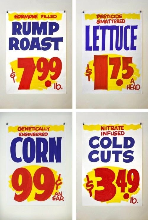"""Typeverything.com One of a kind, hand lettered """"grocery signs"""" on butcher paper by Division of Labor. in Type & lettering"""