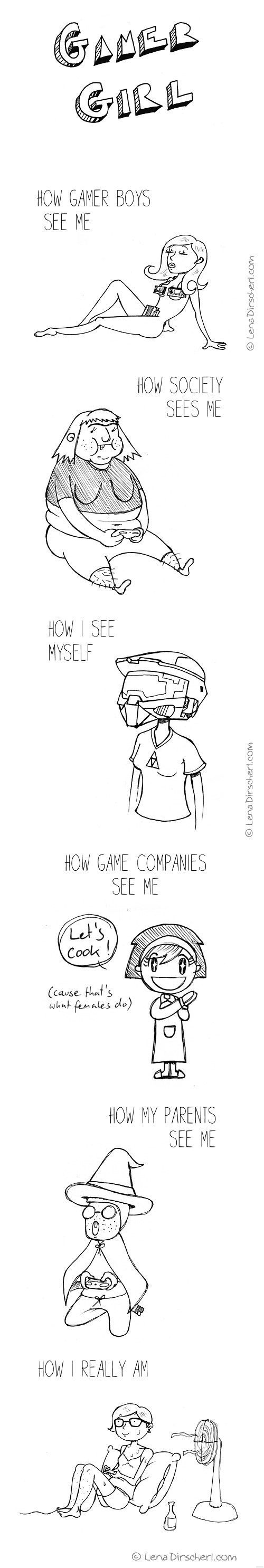 Funny Pictures of the day - How People See Gamer Girls (135 Pics)