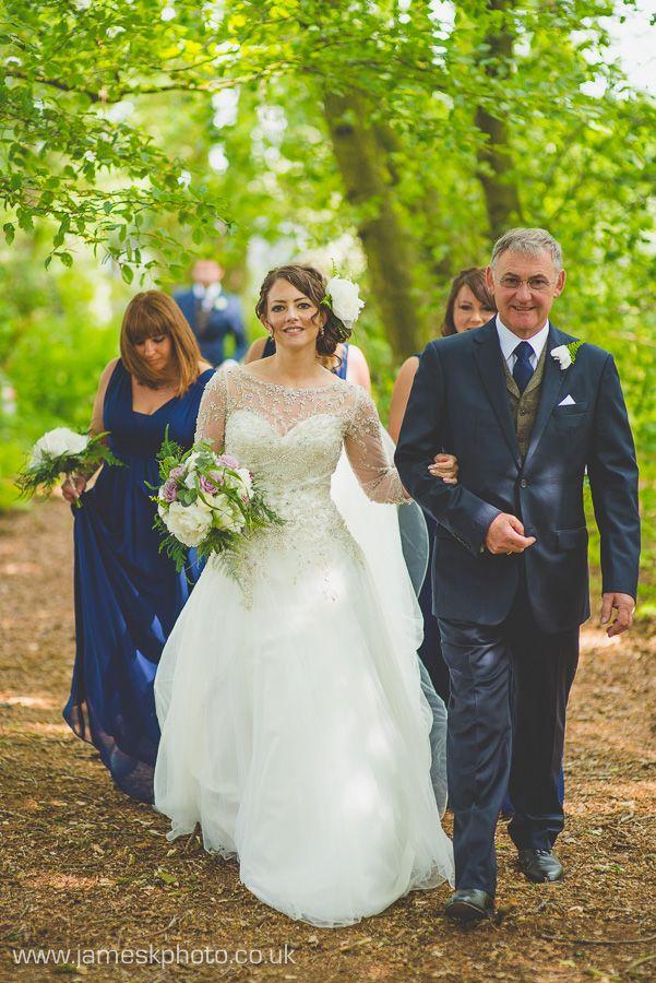 Bride & Father of the Bride. Blue bridesmaids. Hush Venues Norfolk Outdoor Wedding Venue. Wedding in the woods. Norfolk Wedding Photographer. www.jameskphoto.co.uk
