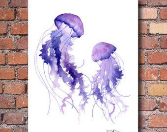 Items similar to Jellyfish Art Painting, Purple Jellyfish ...