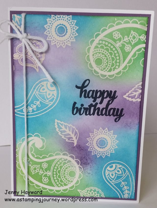 Emboss resist using Paisleys & Posies stamp set.