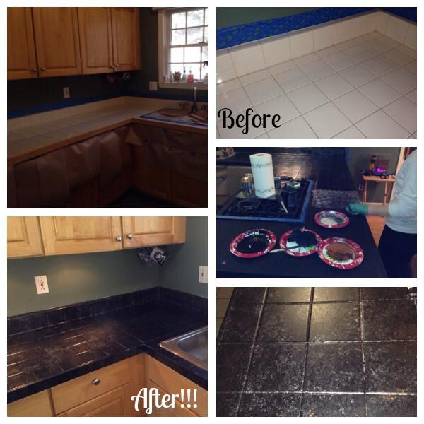 Countertop Paint Black : Giani Granite Countertop Paint Process. The Bombay Black kit over ...