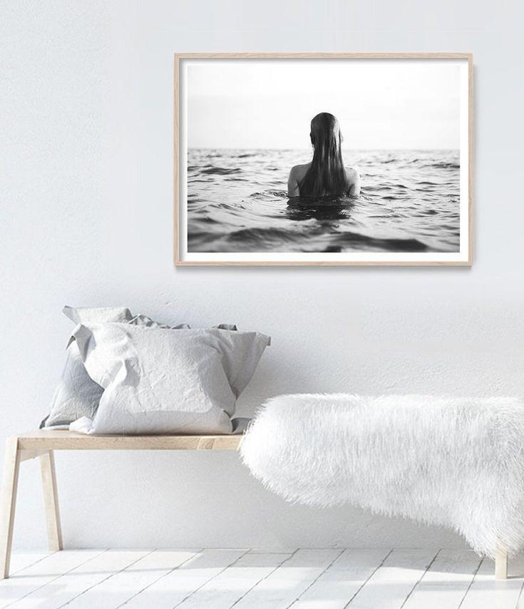 Ocean Print Coastal Decor Beach Wall Art Black And White