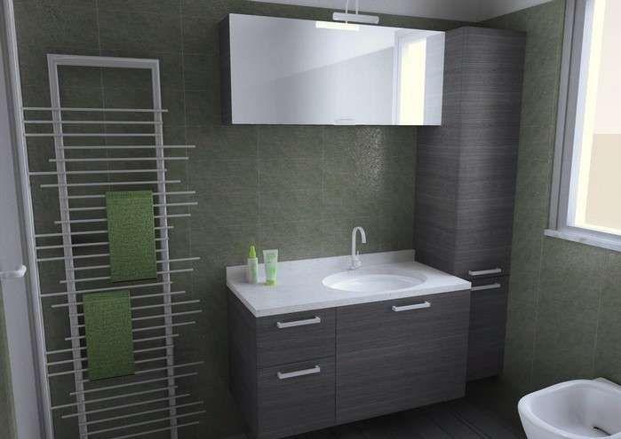 Abbinare il grigio alle pareti - Bagno con piastrelle verdi e arredi ...