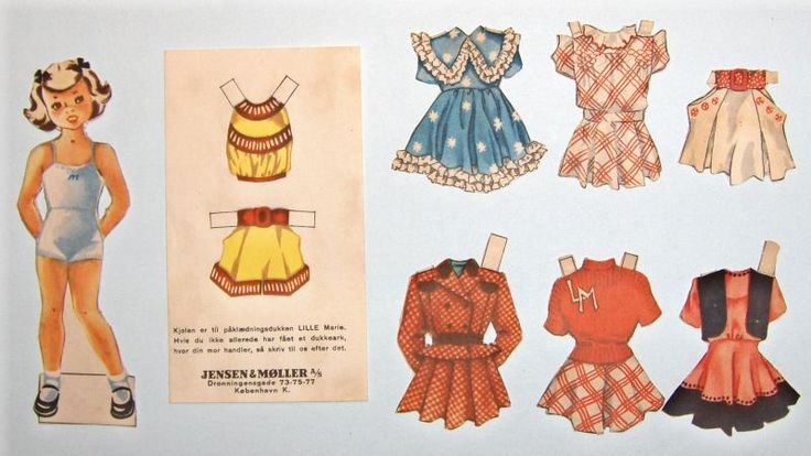 Lille Marie paper doll & some of her clothes (2 of 2) / Gerda Vinding, Danish artist, 1921-1987