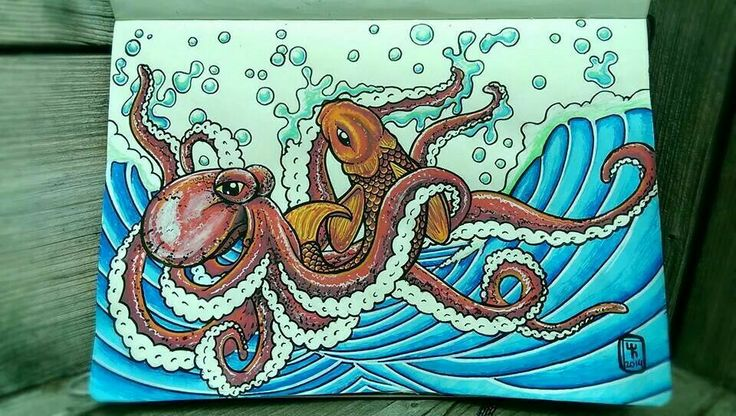 Octopus take two... (Colors are more vibrant in real life) #surf #art #posca #acrylic #urban #moleskine #octopus #koi #wave
