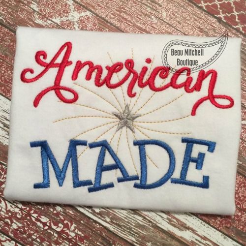 American Made embroidery design - Beau Mitchell Boutique