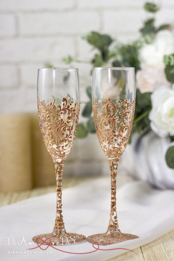 wedding glasses rose gold wedding gift by diamoreds