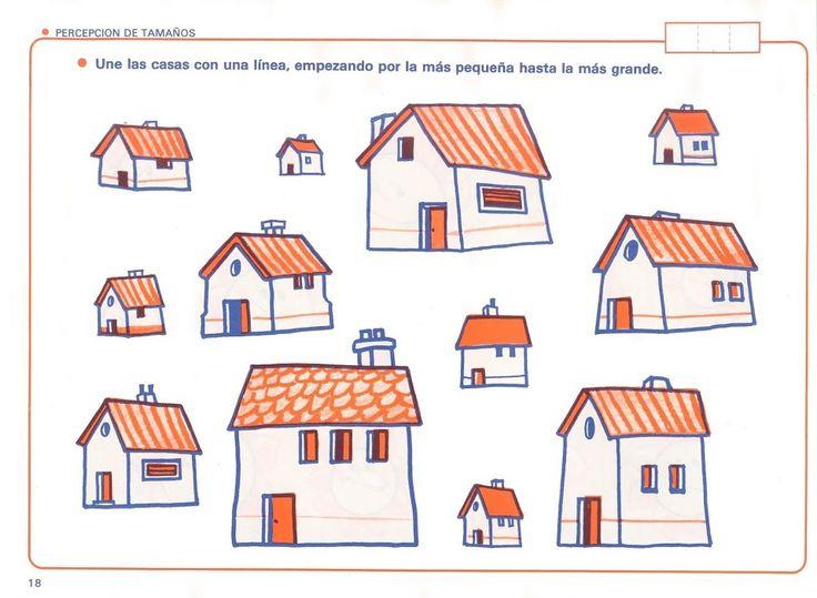 Trek een lijn van het kleinste huis naar een steeds groter huis, free printable