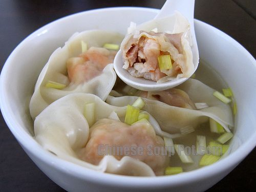 Shrimp Wonton Soup in Supreme Broth Substitute meat: Use chicken or beef
