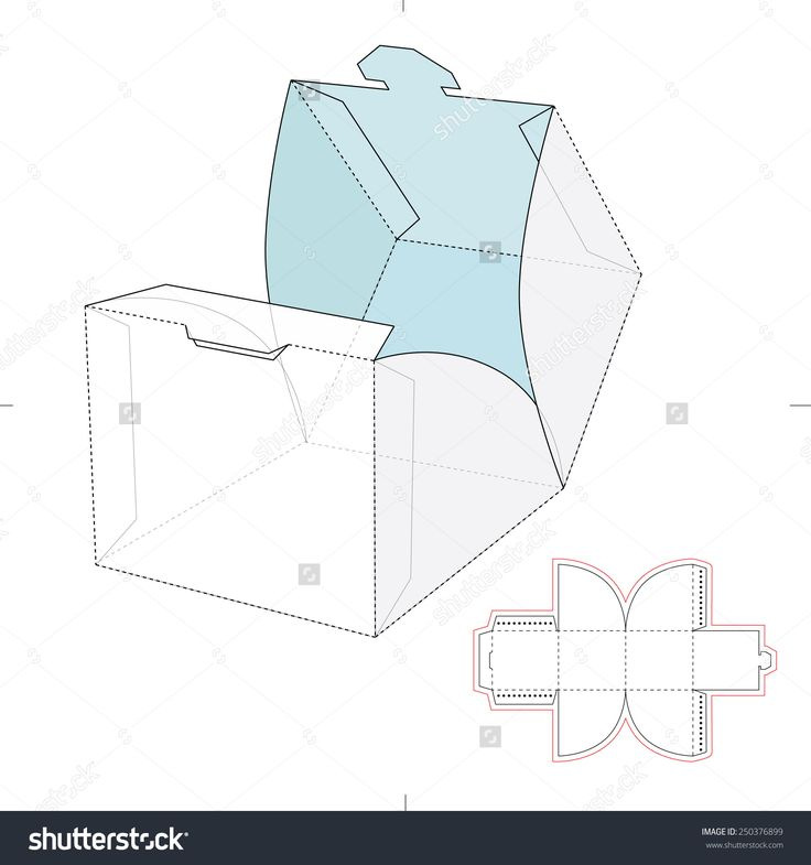 Cube Template Cube Wrap Box With Die Cut Template Stock Vector