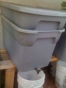 """Good ideal for putting worm bin inside of another bin so you can catch the run off """"tea"""" for the garden"""