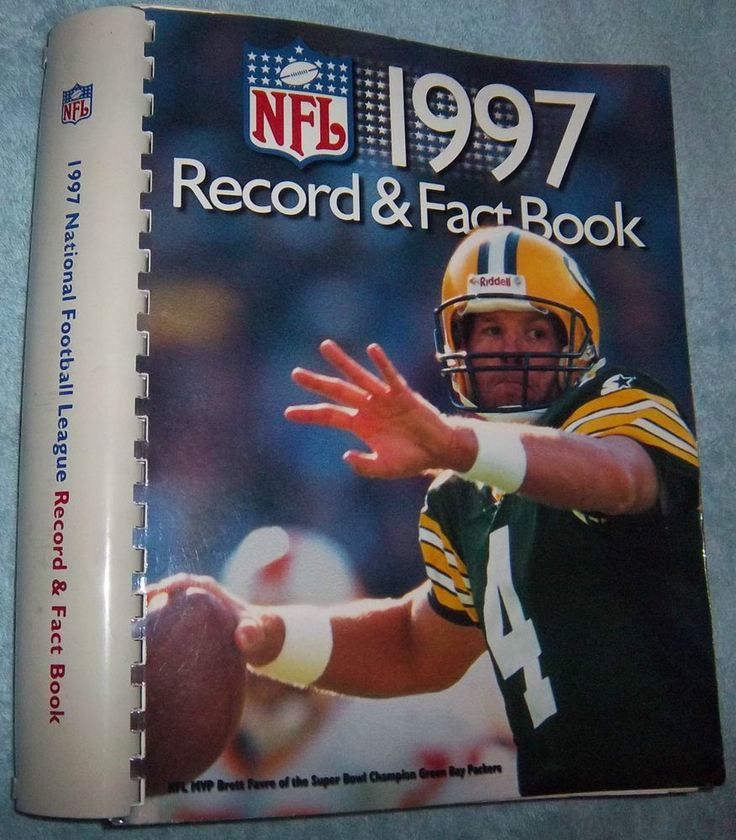 NFL 1997 Record & Fact Book Brett Favre On Cover Fully Indexed Big 480 Page Book