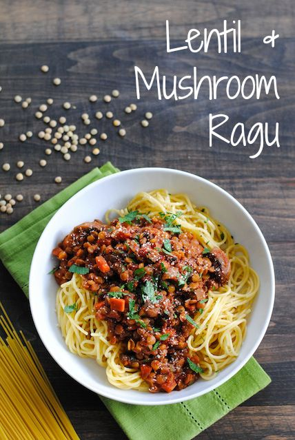 Lentil & Mushroom Ragu. Skip the parmesan garnish and it's all #vegan! Serve over roasted spaghetti squash rather than pasta for a nice, light summer option.