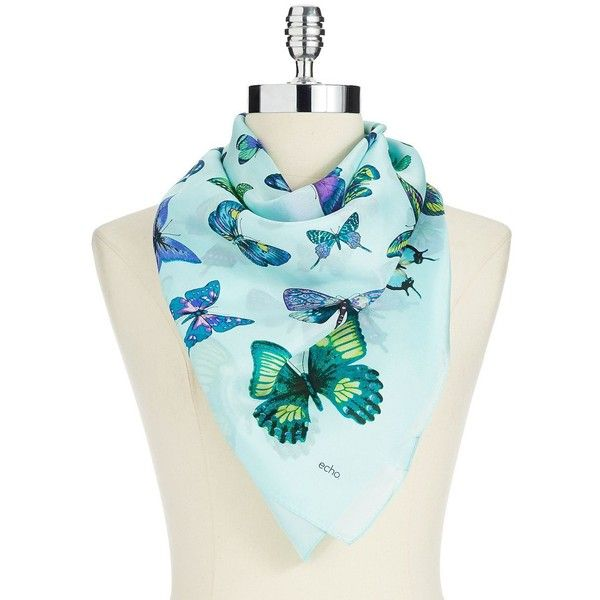 ECHO Butterfly-Print Square Scarf (20 AUD) ❤ liked on Polyvore featuring accessories, scarves, turquoise, echo scarves, butterfly shawl, square scarves and butterfly scarves