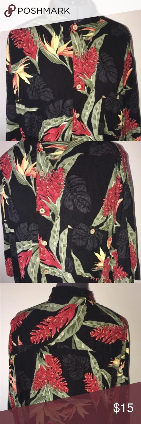 Men's New Puritan Hawaiian black silk shirt XL 🌴 Hello! In this listing you are purchasing a brand new men's Puritan black floral style shirt! This beautifully crafted shirt is a size XL and measures 21 inches across the front chest and top to bottom is 28.5 inches long. This luxurious and soft item is made from 100 % viscose rayon for that silky feel & fit! Grab this cool baby before it's gone! Puritan Shirts Casual Button Down Shirts