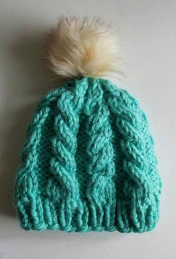 24b3906926c faux fur pom pom hat seafoam green winter hats for women