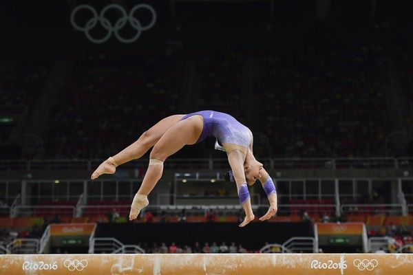 Turkey's Tutya Yilmaz competes in the qualifying for the women's Beam event of the Artistic Gymnastics at the Olympic Arena during the Rio 2016 Olympic Games in Rio de Janeiro on August 7, 2016. / AFP / Ben STANSALL