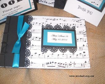 Musica nota Guest Book Album - compleanno, laurea, Retirment, nozze, Sweet 16