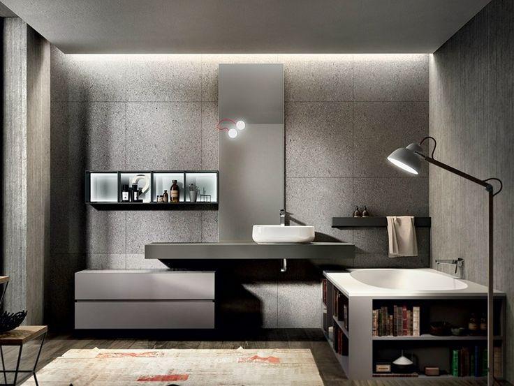 Mobile lavabo laccato sospeso con specchio   Edoné by Agorà Group