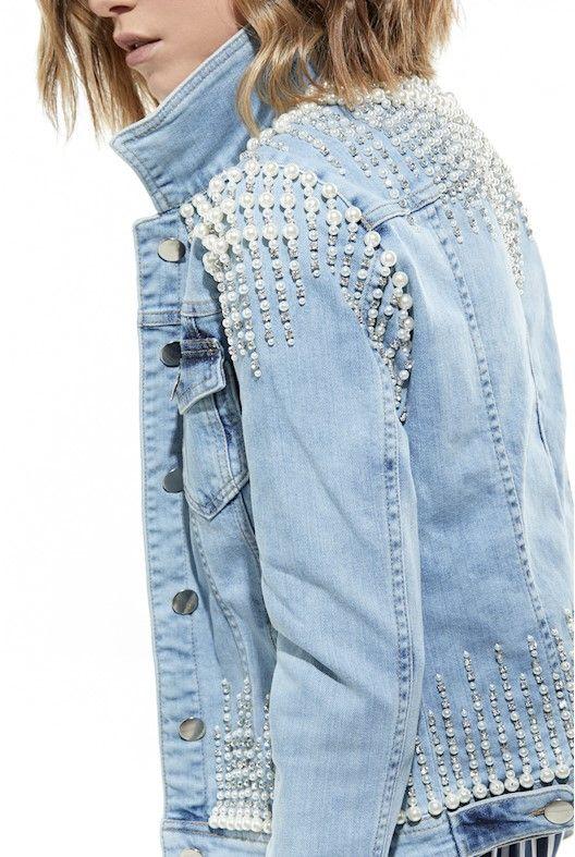 1137389dcc Jaqueta Jeans Pedraria Jaqueta Bordada, Colete Jeans, Shorts De Renda,  Calças Customizadas,
