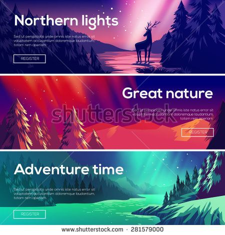 Design illustration for web design development. View of the forest, the mountains , the northern lights.