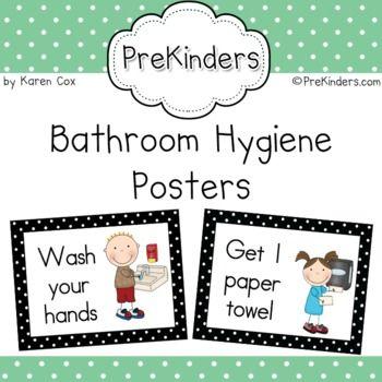 Bathroom Hygiene Posters Preschool Learning Student