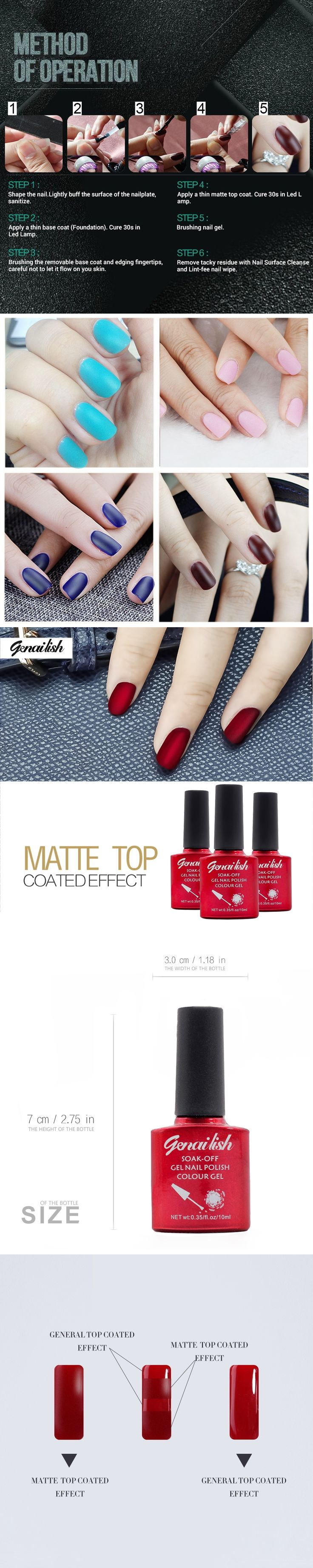 genailish 10ml Cleaning Matt Top Coat Matt Lacquer Gel Nail Polish Matte Nail Gel Layer Varnish Matte Top Gel Polish Nail Var