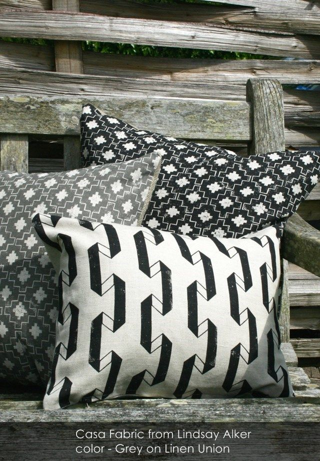 Casa fabric from Lindsay Alker in Grey on Linen Union